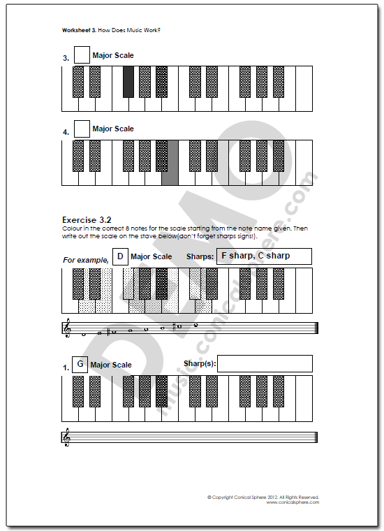Major Scales Music Worksheet Page 2