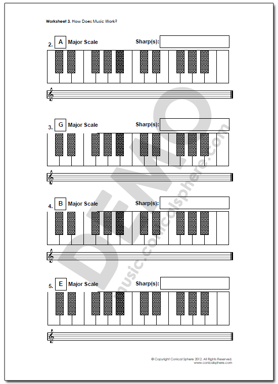 Major Scales Music Worksheet Page 3