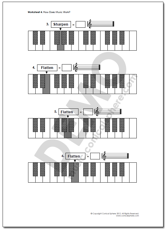 Sharps & Flats Music Worksheet Page 2