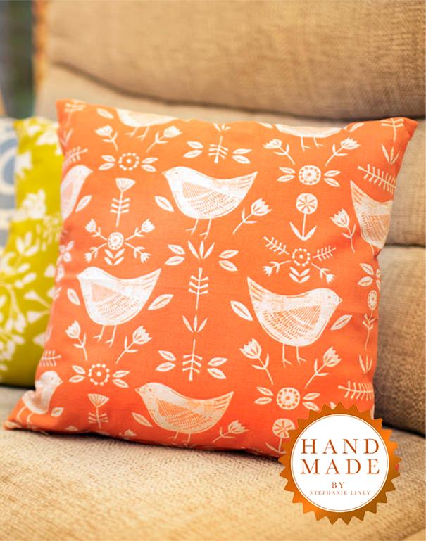 Scandinavian Orange Bird Cushion