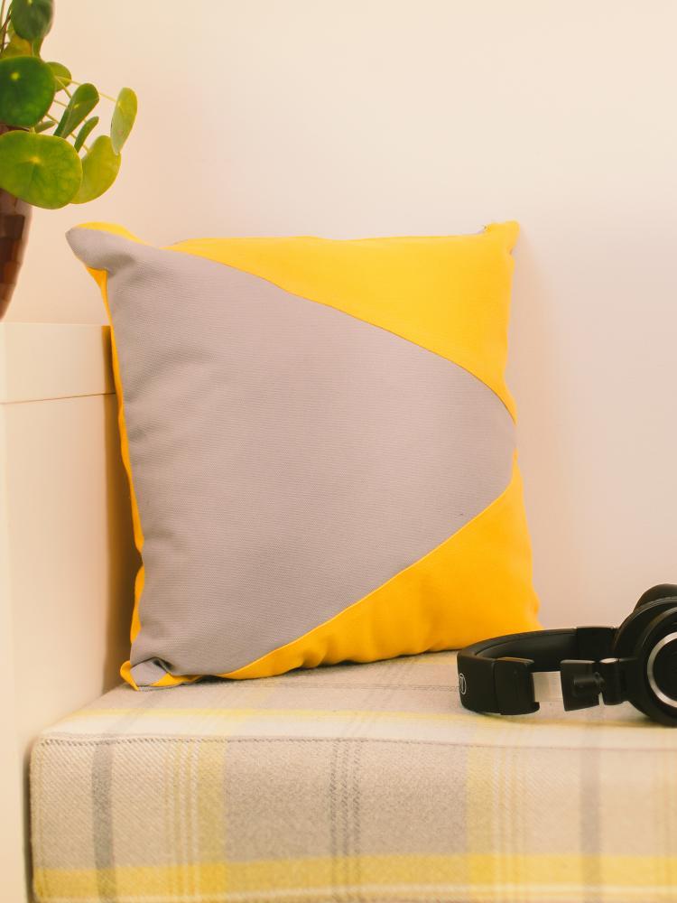 Mustard & Grey Memphis Cushion