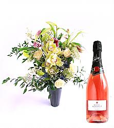 Orchid Bouquet & Sparkling Rosé