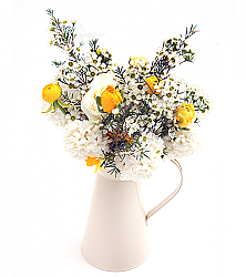 Summer Bouquet in White & Vase