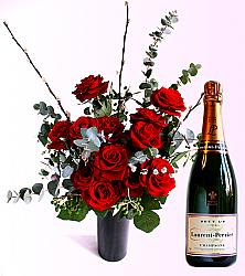 Dozen Roses & LP Champagne